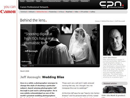 jeff ascough featured on<br>Canon Professional Network 12