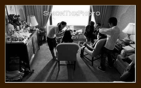 getting ready of bridesmaids